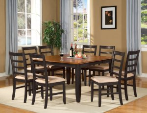 Parfait 9 Pc Square Gathering Dining Table Set 54 X54 Extension Leaf Sku Pa9 Blk C