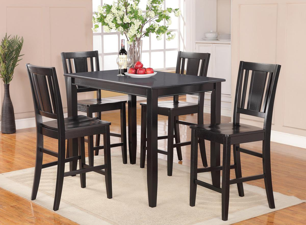 5pc rectangular counter height set 30 x48 table and 4 wooden seat chairs sku bu5 wc blk. Black Bedroom Furniture Sets. Home Design Ideas