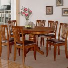 5PC DINING ROOM SET OVAL TABLE AND 4 FAUX LEATHER UPHOLSTERED SEAT CHAIRS