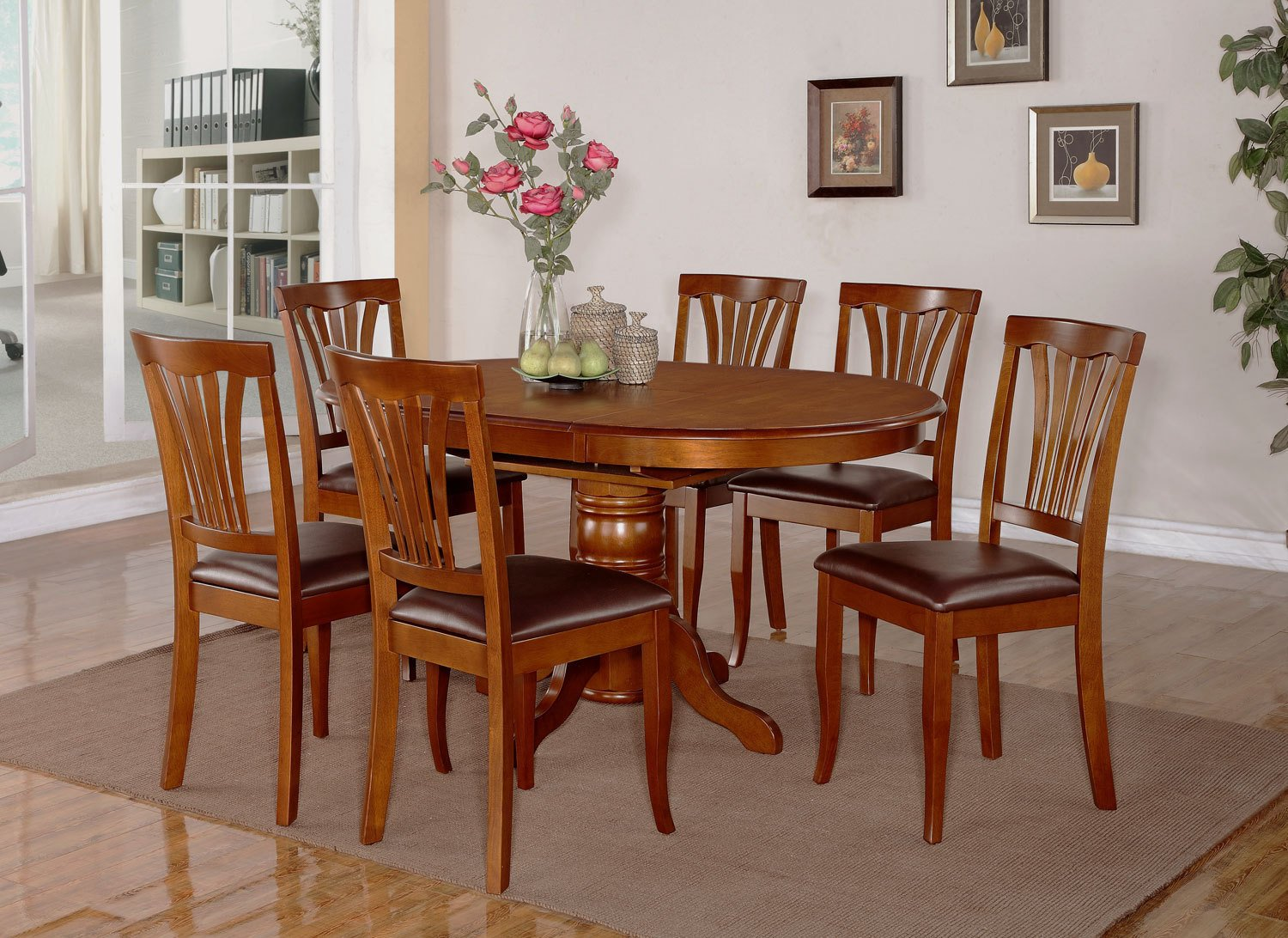 7pc Dining Room Set Oval Table And 4 Faux Leather