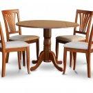 "5-Piece Dublin dinette kitchen  42"" diameter round table 4 chairs in Brown Finish.SKU:DAV5-SBR-C"