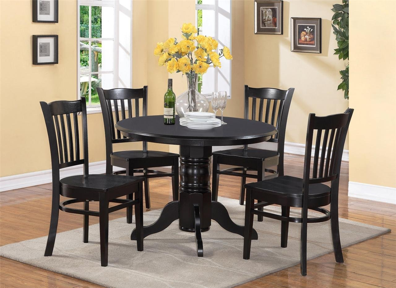 5 PC SHELTON 42 IN ROUND KITCHEN DINETTE TABLE & 4 CHAIRS ...