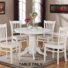 Dinette kitchen table with single pedestal - 42 in diameter finished in white color. NO CHAIR