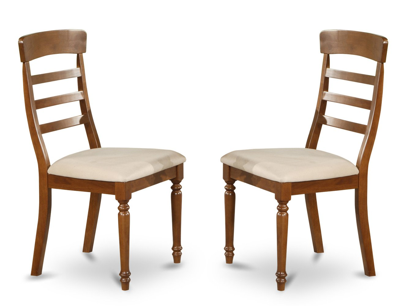 Set of 2 vintage  chairs dining room chairs with wood seat or cushion seat dark oak finish.