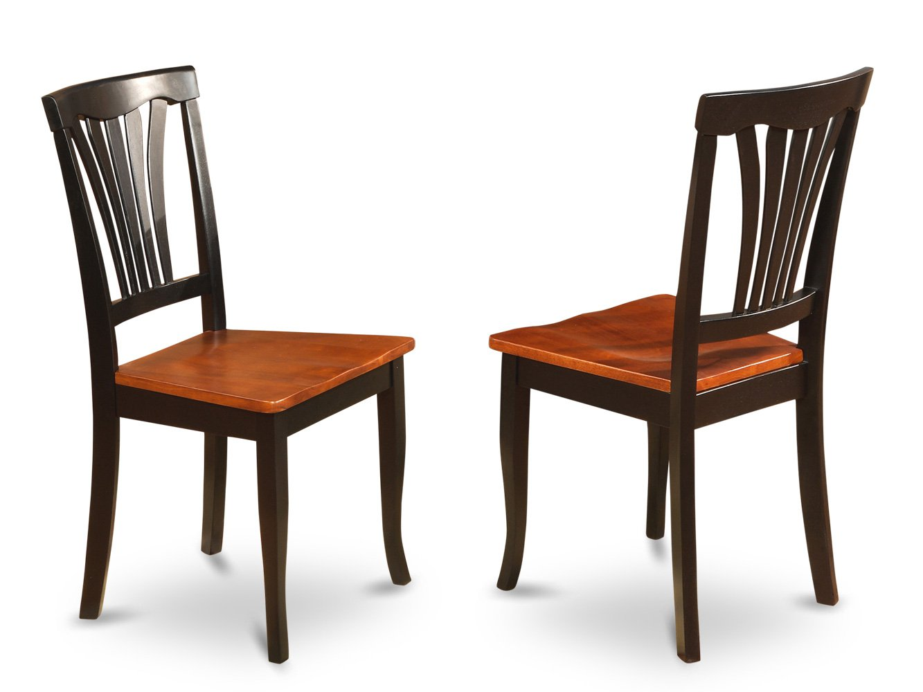 Set of 2 Avon dining room chairs with microfiber upholstered or wood seat in Black finish.