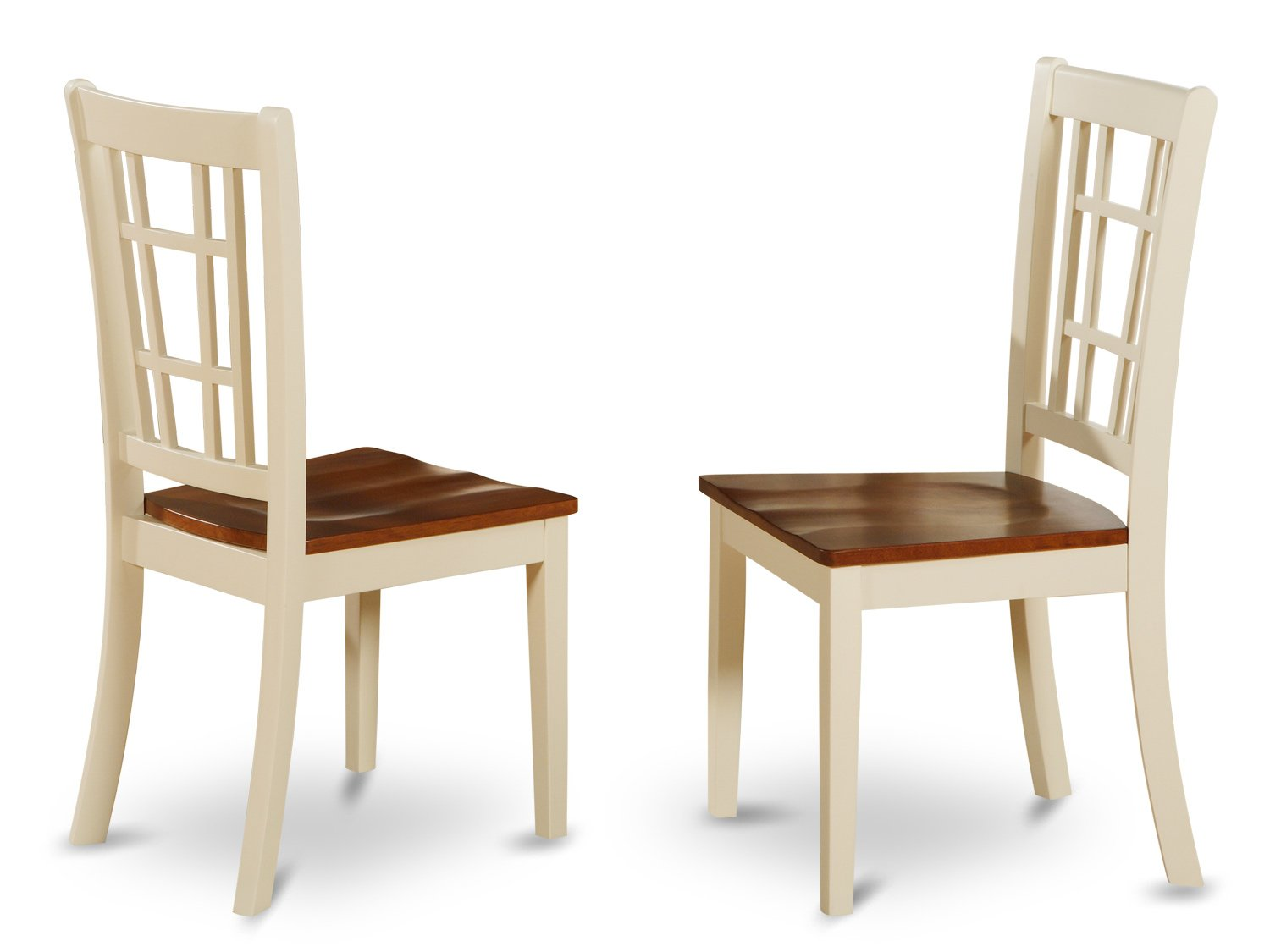 Set of 2 Nicoli  dining room chairs in Buttermilk white finish.