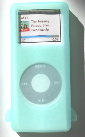I-pod iPod Nano Glow in Dark  Silicone Skin Case Green Apple MP3