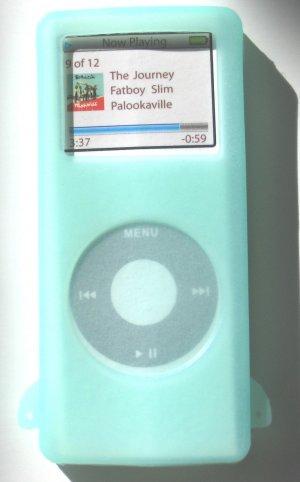 I-pod iPod Nano Glow in Dark  Silicone Skin Case Green Apple MP3