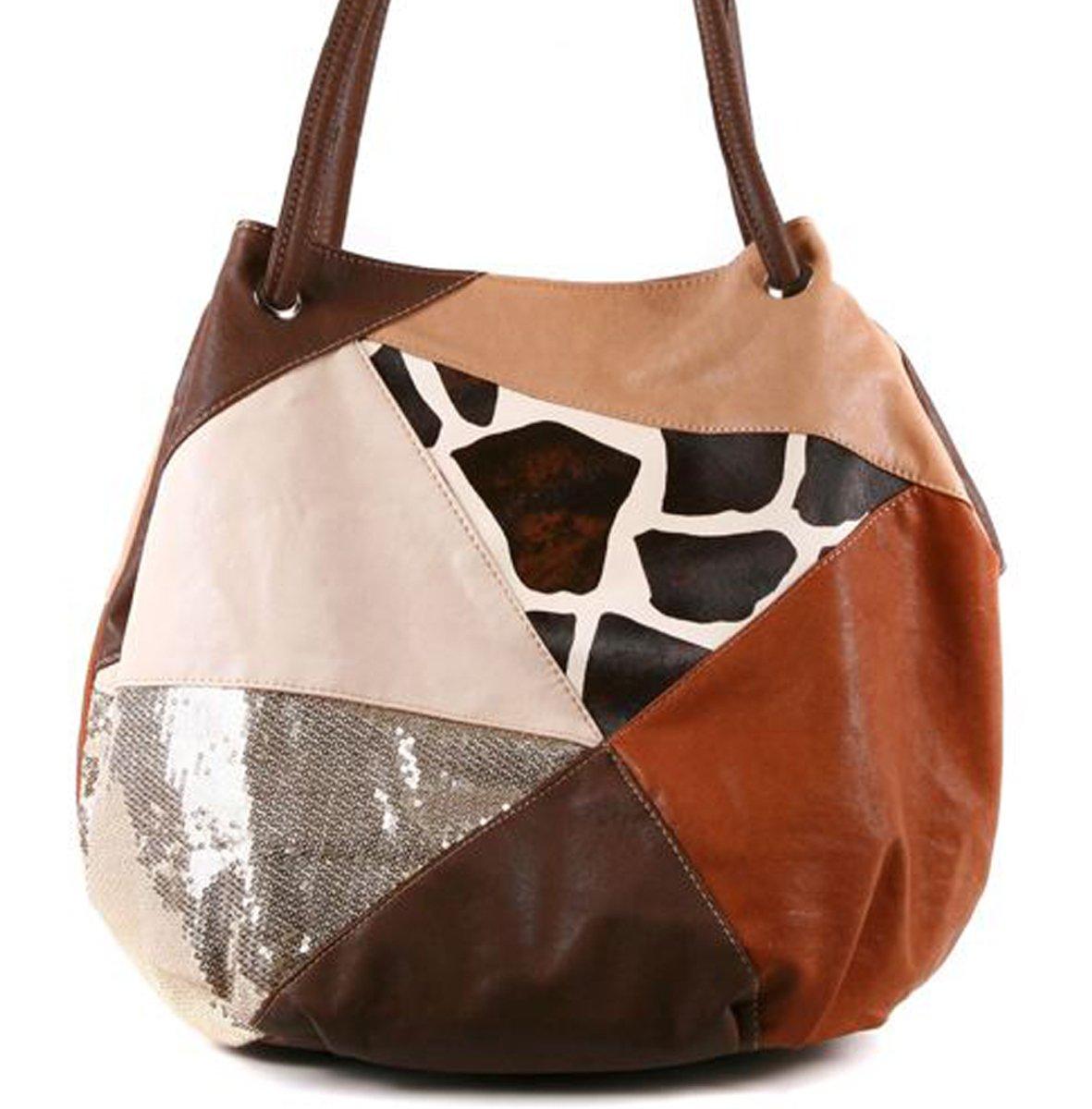 Safari Animal Print Rhinestones Sequins Studded Bag Purse~Leopard Giraffe Cow~
