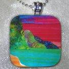 Kauai Hawaii NA PALI COAST Beach~Large Glass Pendant~Sunset Tile Art Necklace