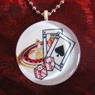 Blackjack ROULETTE Casino Gambling Las Vegas~Large Round Glass Pendant Art Necklace