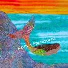 "MERMAID Swimming in Ocean Sunset~12.5"" Batik Fabric Quilt Panel Block~Organic Cotton Sateen"