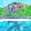 8x10 HANALEI BAY, Kauai with Sea Turtle Cool Color Blue Green Batiks - Premium Metallic Print