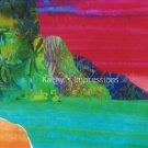 8x10 NA PALI COAST Red Sky Sunset, Batik Mountains Ocean Kauai Beach - Premium Metallic Print