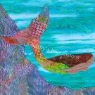 8x10 Stunning Batik MERMAID Swimming in Ocean with Coral Reef - Premium Metallic Linen Print