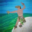 "Male HULA DANCER Hawaiian Beach~10.5"" Organic Cotton Sateen Fabric Quilt Panel Block"