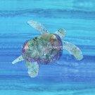 "HONU SEA TURTLE Blue Ocean Water- No Border-10.5"" Organic Cotton Sateen Batik Fabric Quilt Block"