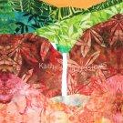 "WAIMEA CANYON & Waterfall Kauai Hawaii-10.5"" Organic Cotton Sateen Batik Fabric Quilt Block"