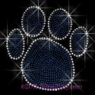 (L) Royal Blue Paw Print Rhinestone Iron On Transfer Hot Fix Bling