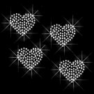 Set of 4 Clear Hearts Rhinestone Iron on Transfer Hot Fix Bling Love - DIY