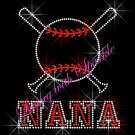 Baseball NANA Bat Rhinestone Iron on Transfer Hot Fix Bling Sports - DIY