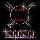 Baseball MIMI Bat Rhinestone Iron on Transfer Hot Fix Bling Sport - DIY