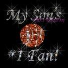 My Son #1 Fan - Basketball Rhinestone Iron on Transfer Hot Fix Bling Mom