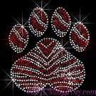 (L) Zebra Red Paw Print Rhinestone Iron on Transfer Hot Fix Bling School Mascot - DIY
