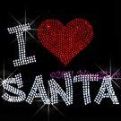 I Love Santa Rhinestone Iron on Transfer Hot Fix Bling Christmas Claus Heart - DIY