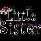 Christmas Little Sister Rhinestone Iron on Transfer Hot Fix Bling Mom Santa Hat - DIY