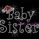 Christmas Baby Sister Rhinestone Iron on Transfer Hot Fix Bling Mom Santa Hat - DIY