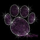 (L) Purple Paw Print Rhinestone Iron On Transfer Hot Fix Bling School Mascot - DIY