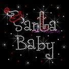 Santa Baby Rhinestone Iron on Transfer Hot Fix Bling Christmas Santa Hat Candy Cane - DIY