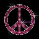Peace Sign - Pink Stud Rhinestone Iron on Transfer Hot Fix Bling Love - DIY