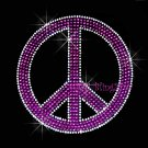 Peace Sign - Purple Stud Rhinestone Iron on Transfer Hot Fix Bling Love - DIY
