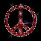 Peace Sign - Red Stud Rhinestone Iron on Transfer Hot Fix Bling Love - DIY