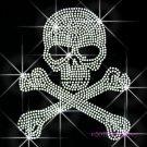 Skull Cross & Bones Rhinestone Iron on Transfer Hot Fix Bling Sport - DIY