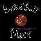 Basketball Mom - C Rhinestone Iron on Transfer Hot Fix Bling Sports - DIY