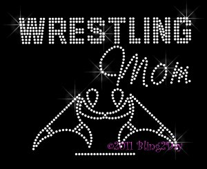 Wrestling Mom - New Rhinestone Iron on Transfer Hot Fix Bling Sports - DIY
