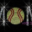 MoM - Softball Rhinestone Iron on Transfer Hot Fix Bling Sports - DIY