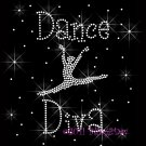 Dance Diva C - Rhinestone Iron on Transfer Hot Fix Bling Sport - DIY