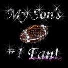 My Son #1 Fan - Football Rhinestone Iron on Transfer Hot Fix Bling Mom