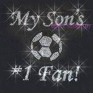 My Son #1 Fan - Soccer Rhinestone Iron on Transfer Hot Fix Bling Mom