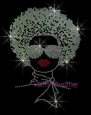 Afro Lady Girl - Silver Woman Rhinestone Iron on Transfer Hot Fix - DIY