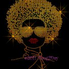 Afro Lady Girl - Gold Woman Rhinestone Iron on Transfer Hot Fix - DIY