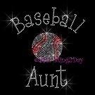 Baseball Aunt - C Rhinestone Iron on Transfer Hot Fix Bling Sports - DIY