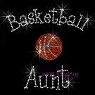 Basketball Aunt - C Rhinestone Iron on Transfer Hot Fix Bling Sports - DIY