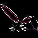 Bunny Rabbit - Outline Rhinestone Iron on Transfer Hot Fix Bling Easter - DIY