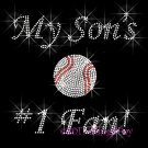 My Son #1 Fan - Baseball Rhinestone Iron on Transfer Hot Fix Bling Mom