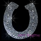 Large Western Clear Horseshoe - Rhinestone Iron on Transfer Hot Fix Bling Horse Shoe - DIY